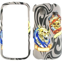 Cell Armor Snap-On Case for HTC Amaze - 3D Embossed Two Skulls on Gray