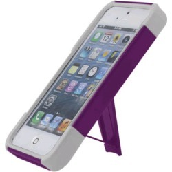Reiko - Silicone Case Plus Protector Cover with New Type KickStand for Apple iPhone 5 - Purple/White