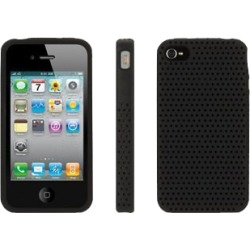 Griffin - FlexGrip Punch Silicone Cover Case with Stand for Apple iPhone 4/4S - Black