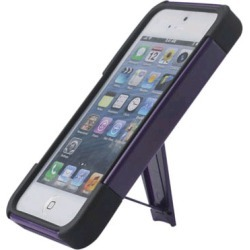 Reiko - Silicone Case Plus Protector Cover with New Type Kickstand for Apple iPhone 5 - Purple/Black found on Bargain Bro India from Unlimited Cellular for $6.19