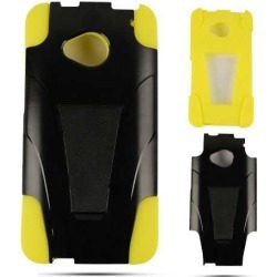 Snap-On Jelly Protector Case for HTC One / M7 (Yellow Skin and Black Snap with Stand) found on Bargain Bro Philippines from Unlimited Cellular for $6.19