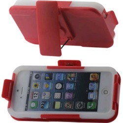 Reiko - Silicone Case Plus Protector Cover with Holster and Clip for Apple iPhone 5 - Red/Clear