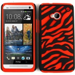 Cell Armor Hybrid Novelty Case for HTC One - Red Zebra on Black
