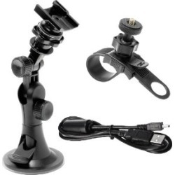 Midland XTAVP1 Action Camera 3-Piece Combo Pack Kit Suction Cup - Black
