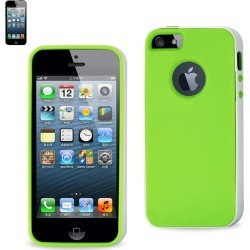 Reiko - Protector Cover PC Sides Plus TPU for Apple iPhone 5 - White/Green