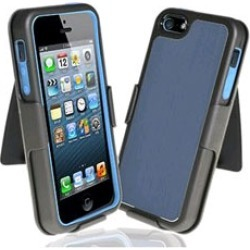 Decoro Element Hybrid Case with Holster for Apple iPhone 5 - Blue/Black/Gray