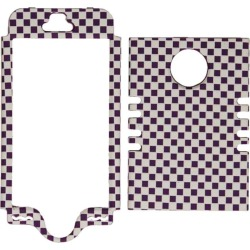 Unlimited Cellular Rocker Series Snap-On Cover for Apple iPhone 5S (3D Embossed Purple/White Checkers)