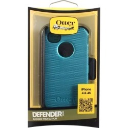 OtterBox Defender Series Hybrid Case and Holster for Apple iPhone 4/4S (Light Teal/Deep Teal)