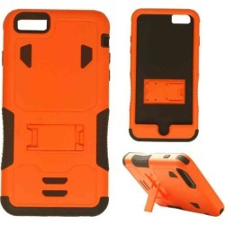 Cell Armor - Novelty Protector Case with Stand for Apple iPhone 6 Plus - Orange and Black
