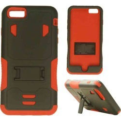 Cell Armor - Novelty Protector Case with Stand for Apple iPhone 6 Plus - Black and Orange