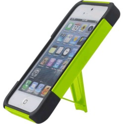 Reiko - Silicone Case Plus Protector Cover with New Type Kickstand for Apple iPhone 5 - Yellow/Black
