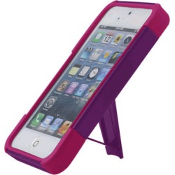 Reiko - Silicone Case Plus Protector Cover with New Type Kickstand for Apple iPhone 5 - Purple/Hot Pink