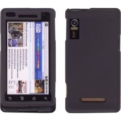 Black Rubber Snap On Case for Motorola A855 Droid