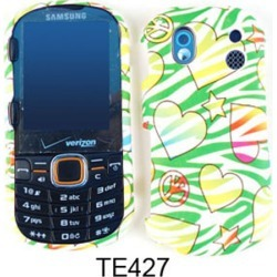 Unlimited Cellular Snap-On Case for Samsung Intensity 2 U460 (Hearts/Stars/Peace Signs on Green Zebra) found on Bargain Bro India from Unlimited Cellular for $5.99