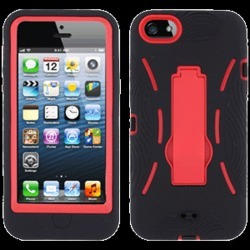 PCS Brand Products Hybrid Skin Case with Stand for Apple iPhone 5 (Black with Red Trim) - APLIPH5SC9