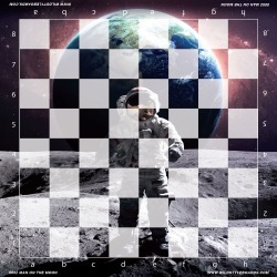 Man on the Moon - Full Color Vinyl Chess Board