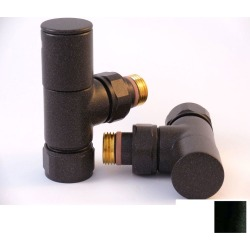 Tuzio Regular Angle Valve Pair for Hydronic Towel Warmers A1015 Matte Black