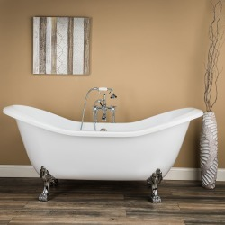 Randolph Morris Serenity 72 In Acrylic Double Slipper Clawfoot Tub RMA72DS7LPBN Brushed Nickel found on Bargain Bro India from vintage tub & bath for $1159.00