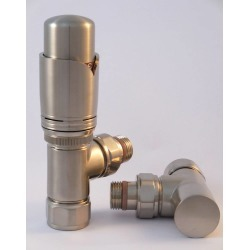 Tuzio Thermostatic Angle Valve Pair for Hydronic Towel Warmers A1044 Brushed Nickel