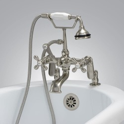 Randolph Morris Deck Mount Clawfoot Tub Faucet with Handshower Brushed Nickel found on Bargain Bro India from vintage tub & bath for $406.00