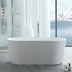 Randolph Morris Chloe 59 Inch Acrylic Double Ended Freestanding Tub RMJ20-BN White / Brushed Nickel found on Bargain Bro India from vintage tub & bath for $1050.00
