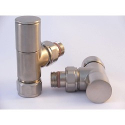 Tuzio Regular Angle Valve Pair for Hydronic Towel Warmers A1014 Brushed Nickel