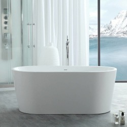 Randolph Morris Chloe 55 Inch Acrylic Double Ended Freestanding Tub RMJ10-BN White / Brushed Nickel found on Bargain Bro India from vintage tub & bath for $1075.00