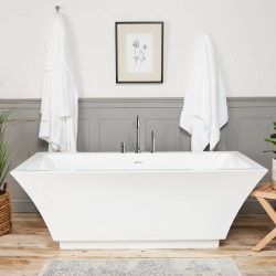 Randolph Morris Asher 59 Inch Acrylic Double Ended Freestanding Tub Package - RMJ24-BNF Brush Nickel found on Bargain Bro India from vintage tub & bath for $1461.80