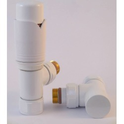 Tuzio Thermostatic Angle Valve Pair for Hydronic Towel Warmers A1041 White
