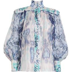 Glassy Long Sleeve Blouse-Spliced Blue Ikat-1 found on Bargain Bro UK from ZIMMERMANN (UK)
